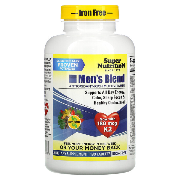Super Nutrition, Men's Blend, Iron Free, 180 Tablets