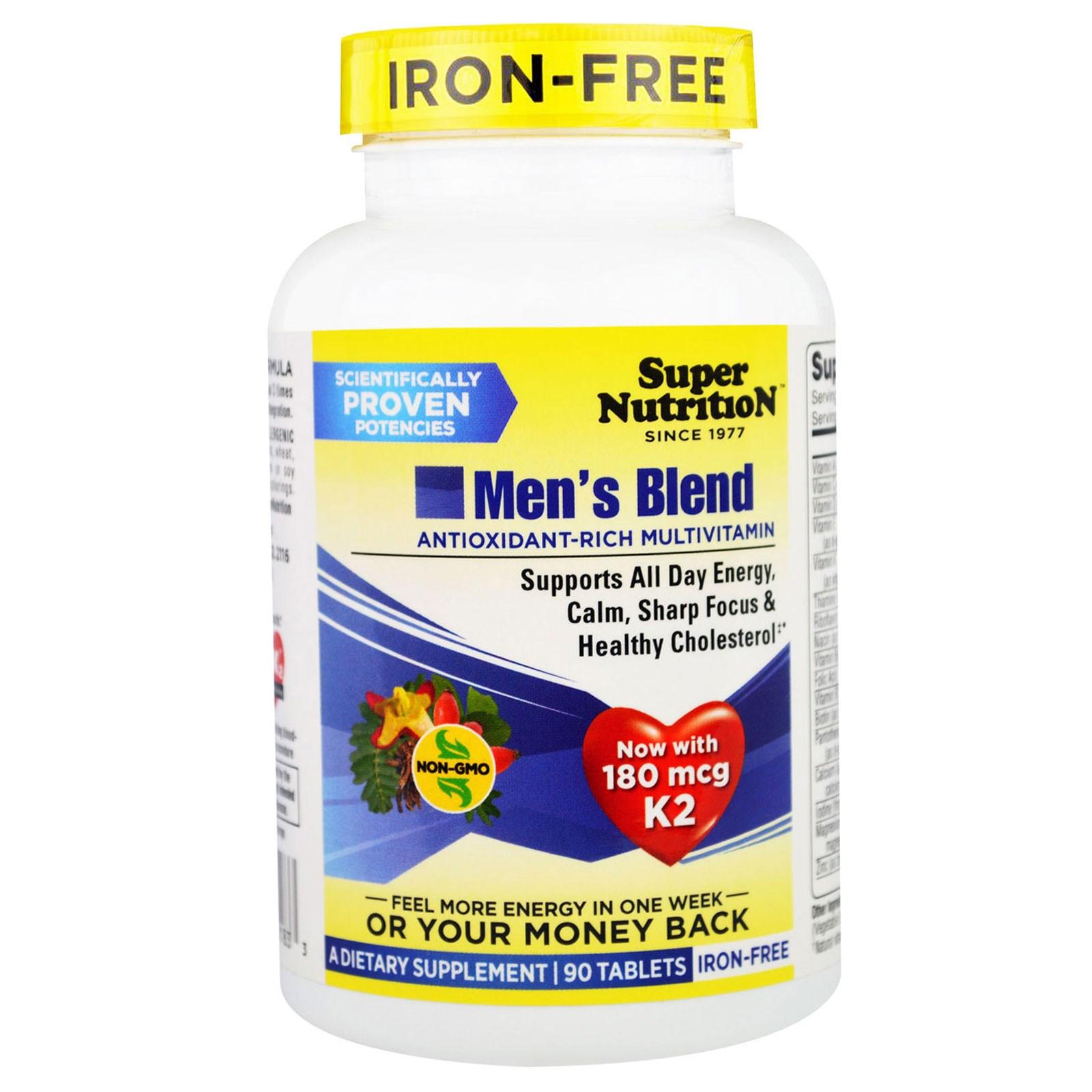"""Super Nutrition, """"Мужской коктейль"""", обогащенный антиоксидантами мультивитаминный комплекс для мужчин, без железа, 90 таблеток"""