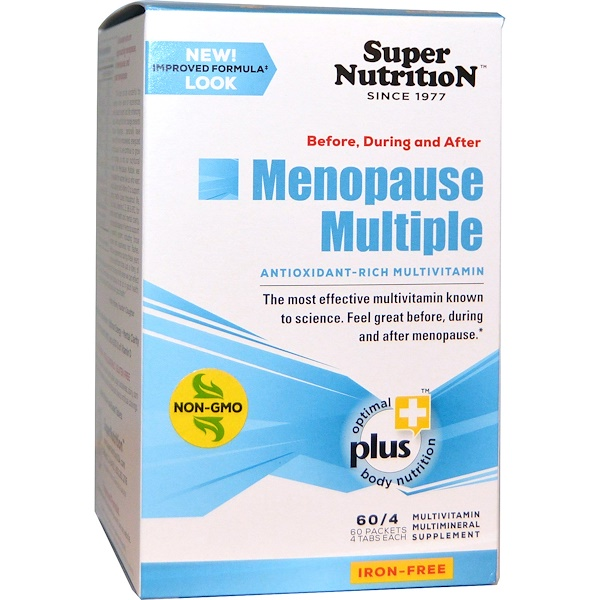Super Nutrition, Before, During and After Menopause Multiple, Antioxidant-Rich Multivitamin, Iron Free, 60 Packets, (4 Tablets) Each (Discontinued Item)