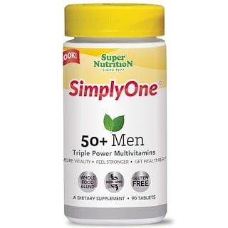 Super Nutrition, Simply One, 50+ Men Triple Power Multivitamins, 90 Tablets