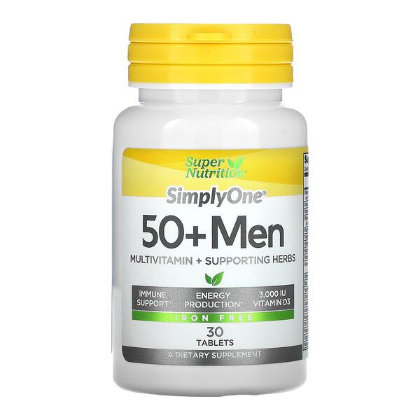 Super Nutrition, SimplyOne,适用50+男性,三倍多效复合维生素,不含铁,30片