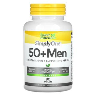 Super Nutrition, SimplyOne، للرجال بعمر 50 عامًا فأكثر، فيتامينات متعددة + أعشاب داعمة، خالٍ من الحديد، 90 قرصًا