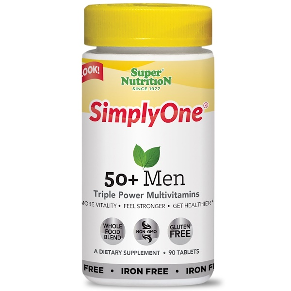 Super Nutrition, SimplyOne, 50+ Men Triple Power Multivitamins, Iron-Free, 90 Tablets
