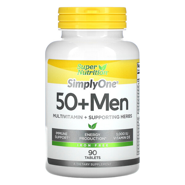 SimplyOne, 50+ Men, Multivitamin + Supporting Herbs, Iron Free, 90 Tablets