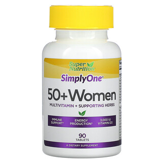 Super Nutrition, SimplyOne, 50+ Women, Multivitamin + Supporting Herbs, 90 Tablets