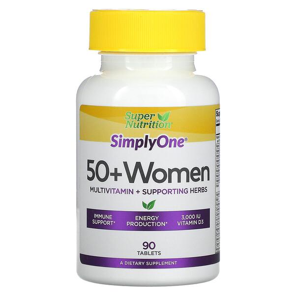 SimplyOne، للنساء في سن 50 عامًا فأكثر، فيتامينات متعددة + أعشاب داعمة، 90 قرصًا
