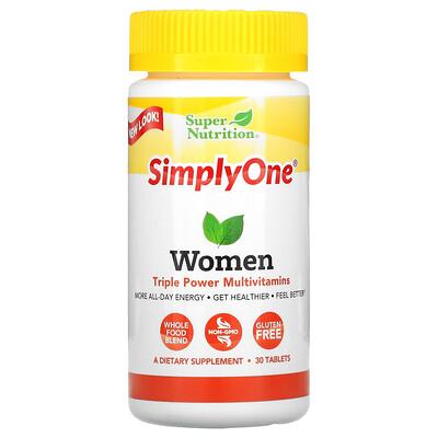 Super Nutrition SimplyOne, Women, Triple Power Multivitamin, 30 Tablets