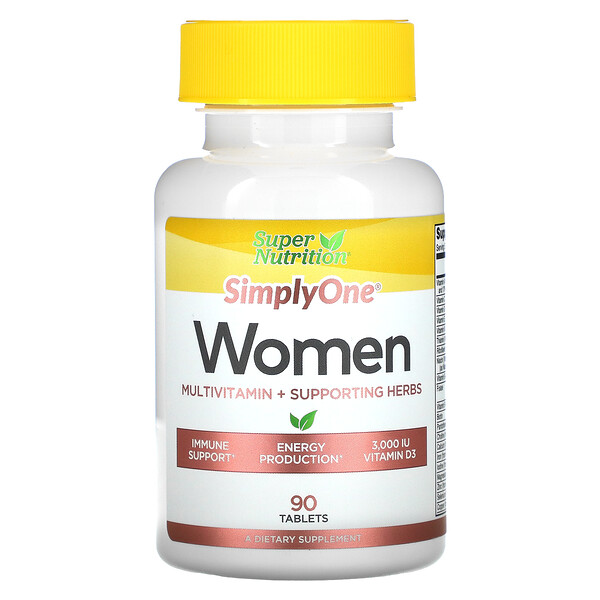 SimplyOne, Women, Multivitamin + Supporting Herbs, 90 Tablets