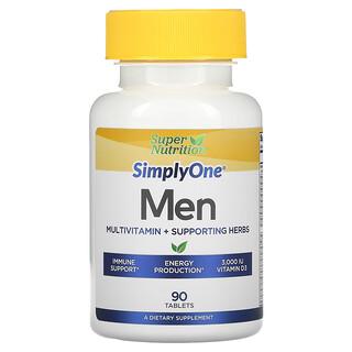 Super Nutrition, SimplyOne، للرجال، فيتامينات متعددة + أعشاب داعمة، 90 قرصًا