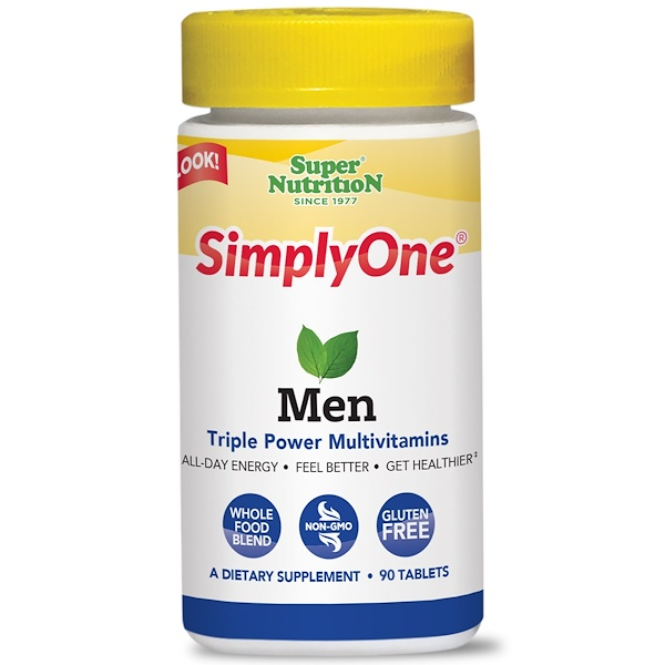 Super Nutrition, SimplyOne, Men, Triple Power Multivitamins, 90 Tablets