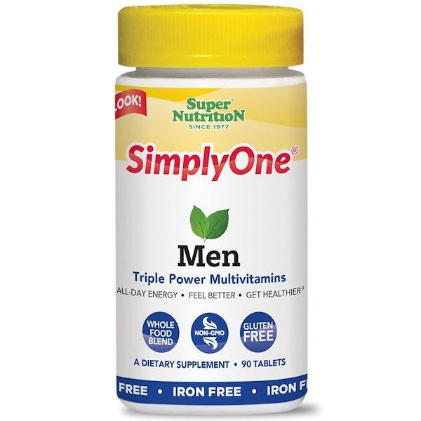 Super Nutrition, SimplyOne, Men, Triple Power Multivitamins, Iron Free, 90 Tablets