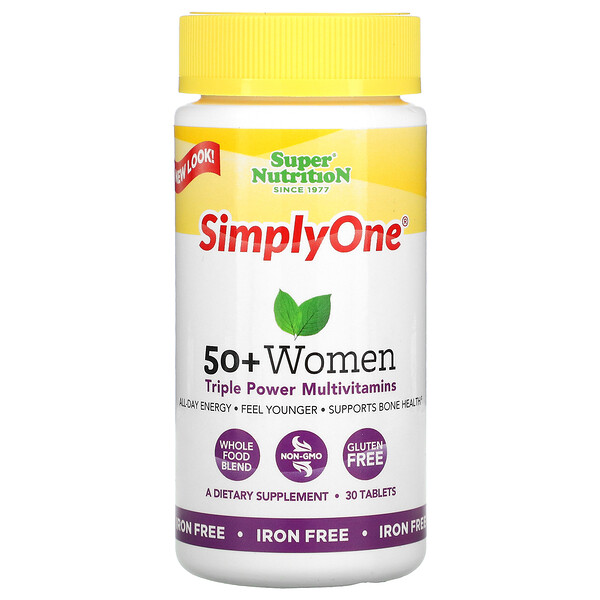 SimplyOne,适用50+女性,三倍多效复合维生素,不含铁,30片