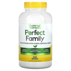 Super Nutrition, パーフェクトファミリー、エナジャイジング マルチビタミン、鉄分不使用、植物性食物由来タブレット240粒