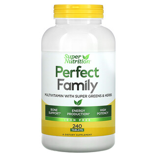 Super Nutrition, PerfectFamily, мультивитамины с супер зеленью и травами, без железа, 240таблеток