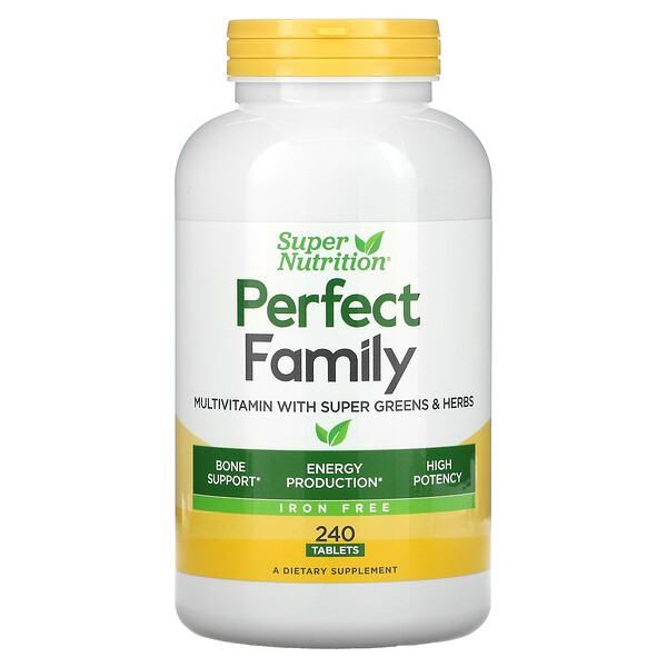 Super Nutrition, Perfect Family, Multivitamin with Super Greens & Herbs, Iron Free, 240 Tablets