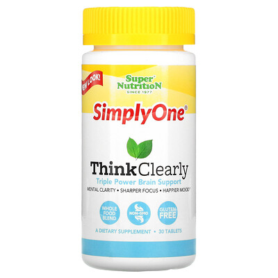 Super Nutrition SimplyOne ясность мысли, мультивитаминный комплекс для улучшения работы мозга, 30 таблеток