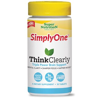 """Super Nutrition, """"SimplyOne ясность мысли"""", мультивитаминный комплекс для улучшения работы мозга, 30 таблеток"""