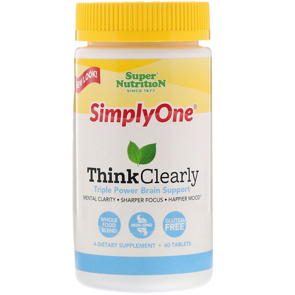 Super Nutrition, SimplyOne, Think Clearly, Triple Power Brain Support, 60 Tablets