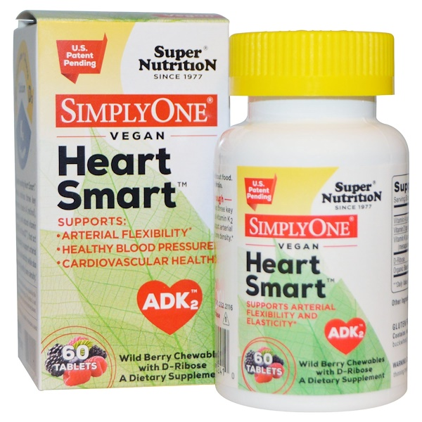 Super Nutrition, SimplyOne, Heart Smart, Vegan, Wild Berry Chewables with D-Ribose, 60 Tablets (Discontinued Item)