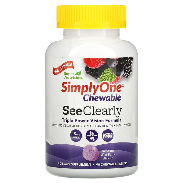 SimplyOne Chewable, See Clearly Triple Power Vision Formula, Wild-Berry, 90 Chewable Tablets