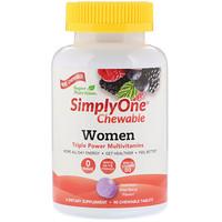 SimplyOne, Мультивитамины для женщин тройной силы, Вкус лесных ягод, 90 жевательных таблеток - фото