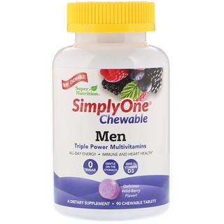 Super Nutrition, SimplyOne, Men Triple Power Multivitamin, Wild-Berry Flavor, 90 Chewable Tablets