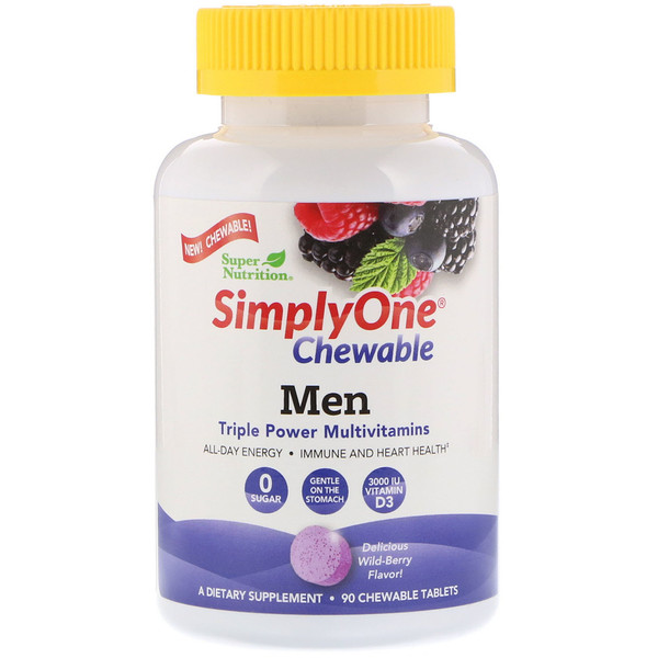 Super Nutrition, SimplyOne, Men, Triple Power Multivitamin, Wild-Berry Flavor, 90 Chewable Tablets (Discontinued Item)