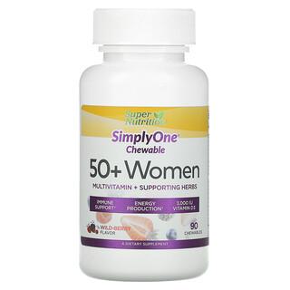 Super Nutrition, SimplyOne,50+ 女性,多維生素 + 支持草本,野生漿果味,90 片咀嚼片