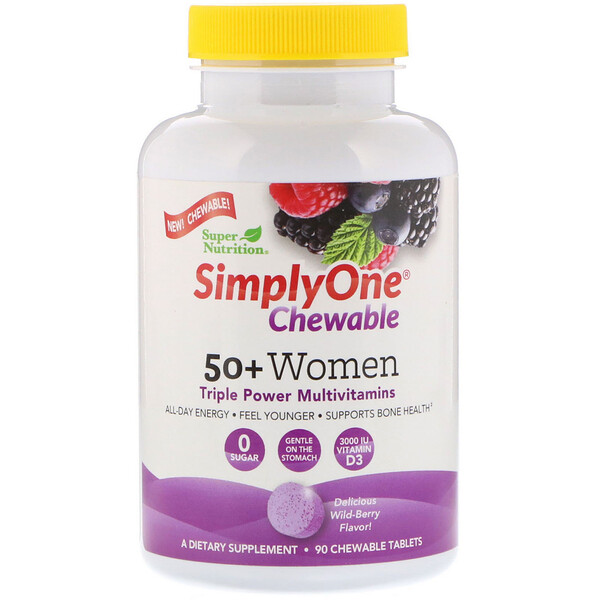 SimplyOne, 50+ Women, Triple Power Multivitamin, Wild-Berry Flavor, 90 Chewable Tablets
