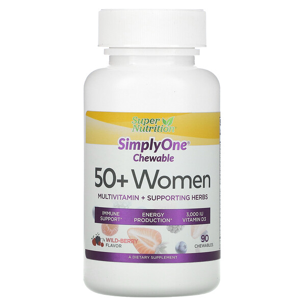 SimplyOne, 50+ Women, Multivitamin + Supporting Herbs, Wild-Berry, 90 Chewables