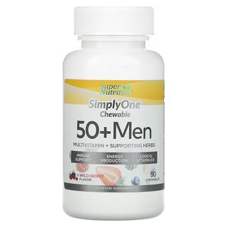 Super Nutrition, SimplyOne, мультивитамины и полезные травы для мужчин старше 50лет, вкус лесных ягод, 90жевательных таблеток