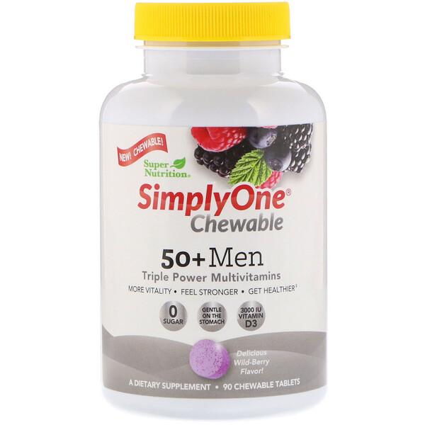 Super Nutrition, SimplyOne، فيتامينات متعددة بقوة ثلاثية للرجال فوق سن الـ 50، نكهة التوت البري، 90 قرص قابل للمضغ