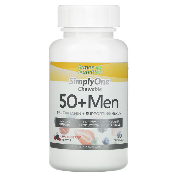 SimplyOne, 50+ Men Multivitamin + Supporting Herbs, Wild-Berry , 90 Chewables