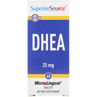 Superior Source, DHEA, 25 mg, マイクロリンガル 即溶性錠剤 60錠