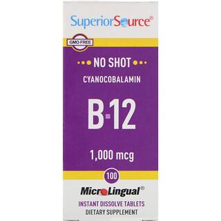 Superior Source, Cyanocobalamin B-12, 1,000 mcg, 100 MicroLingual Instant Dissolve Tablets