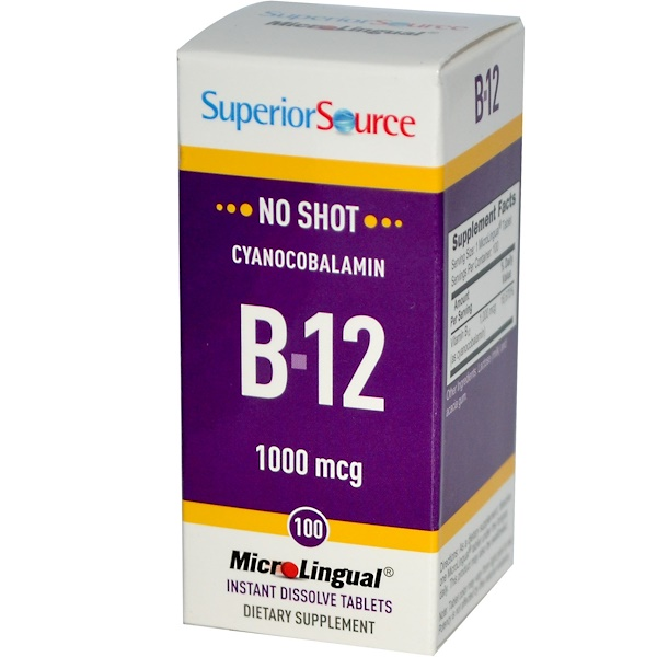 Superior Source, 氰鈷胺維生素B12,1000微克,100片