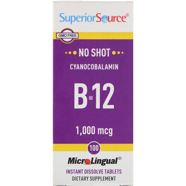Superior Source, Cyanocobalamin B12, 1,000 mcg, 100 Tablets