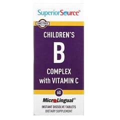 Superior Source, 含維生素 C 的兒童複合維生素 B,60 MicroLingual 即溶片