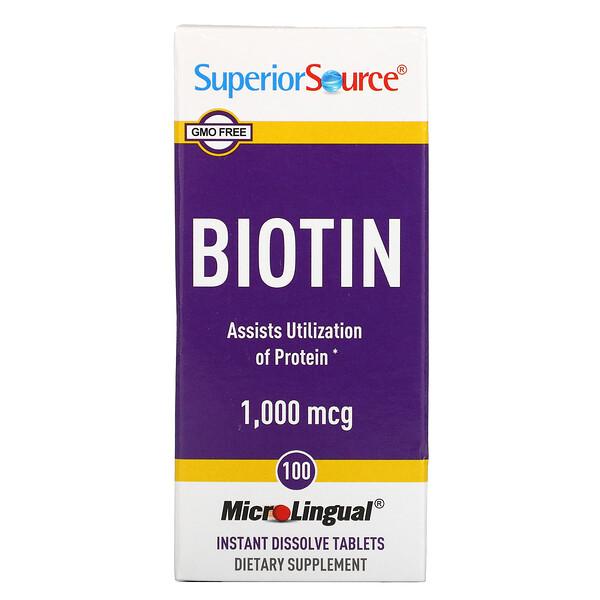 Biotin, 1000 mcg, 100 MicroLingual Instant Dissolve Tablets