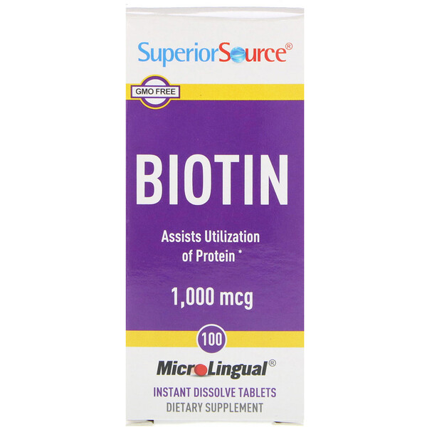 Superior Source, Biotin, 1000 mcg, 100 MicroLingual Instant Dissolve Tablets (Discontinued Item)