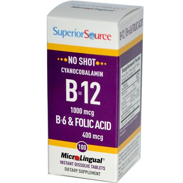 Superior Source, MicroLingual, цианокобаламин B-12 1000 мкг, 100 таблеток (Discontinued Item)
