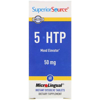 Купить Superior Source 5-HTP (5-гидрокситриптофан), 50 мг, 60 таблеток для рассасывания