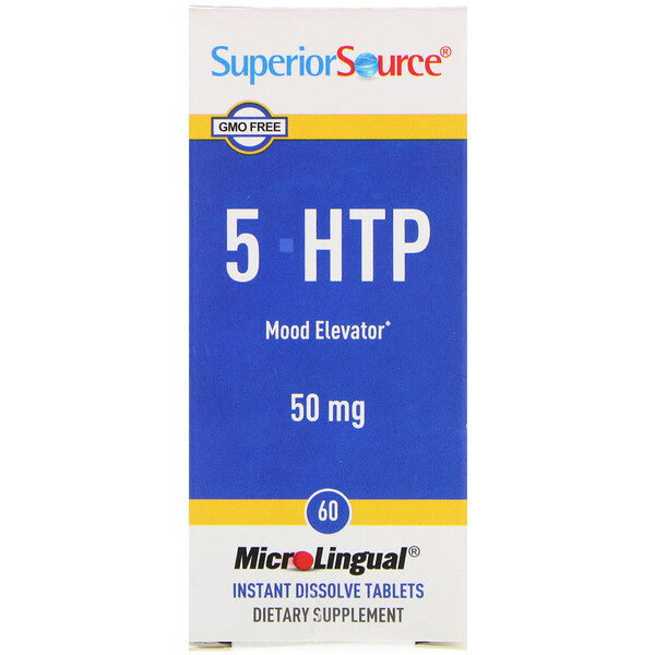 Superior Source, 5-HTP, 50 mg, 60 Tabletas Microlinguales de Disolución Instantánea
