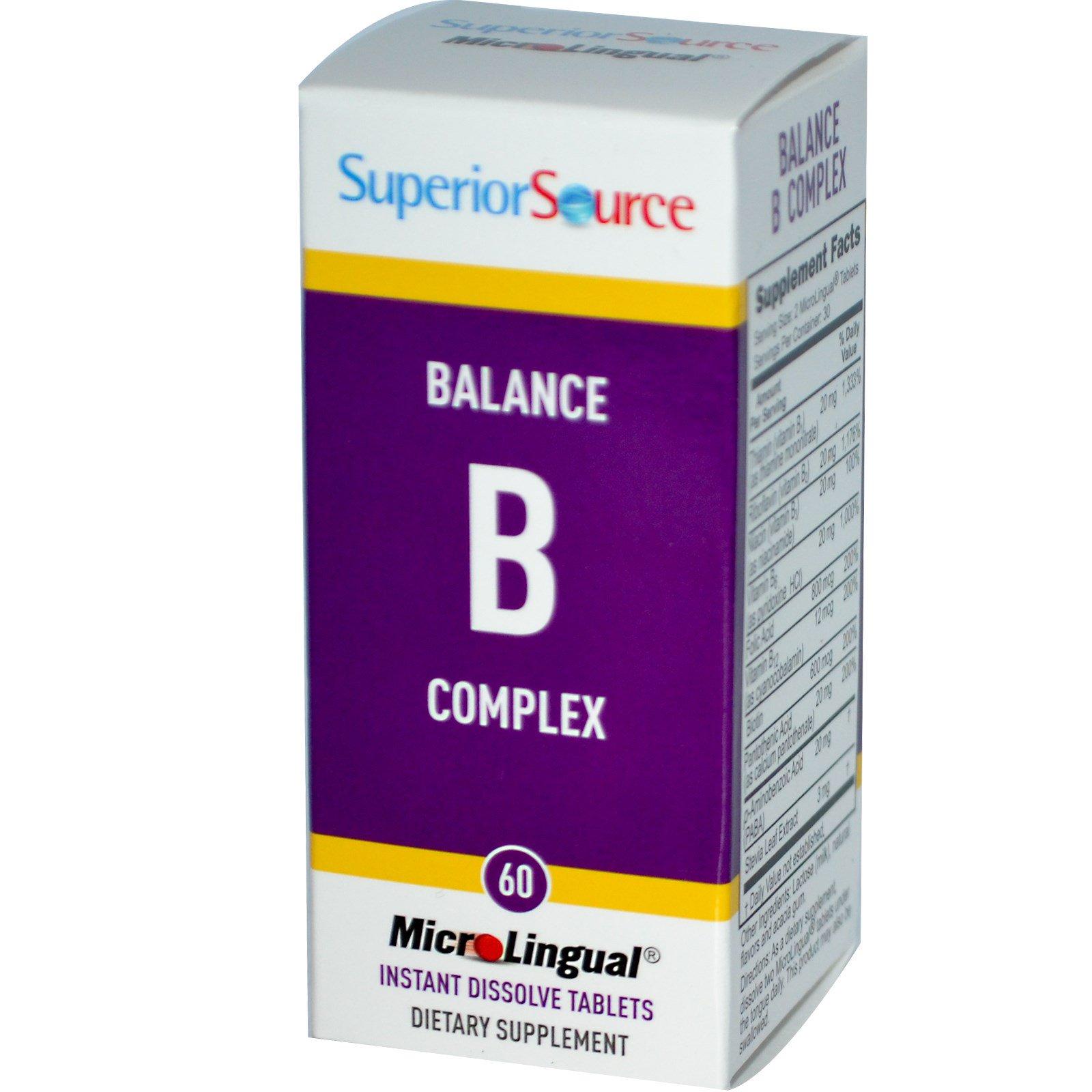 Superior Source, MicroLingual, Балансирующий Комплекс Витамина В 60 таблеток