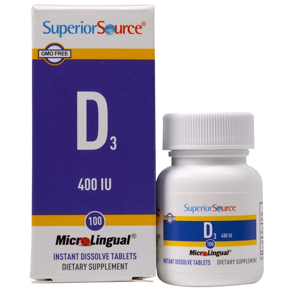 Superior Source, D3, 400 IU, 100 MicroLingual Instant Dissolve Tablets