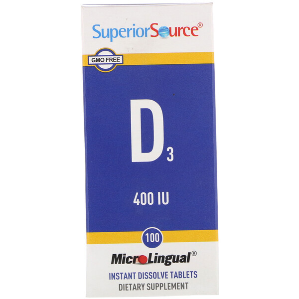 Superior Source, MicroLingual, D3, 400 IU, 100 Comprimés