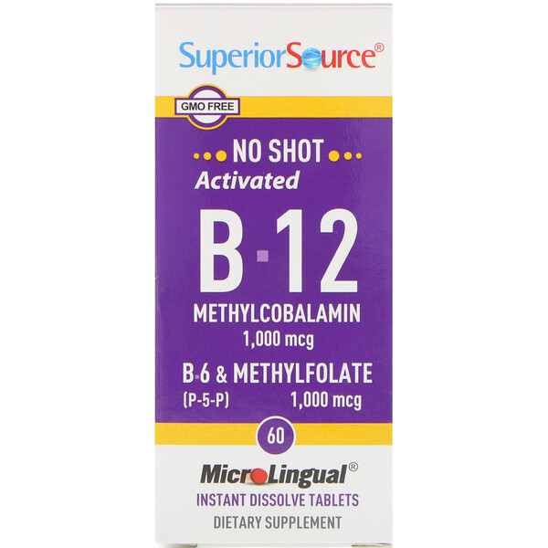 Activated B-12 Methylcobalamin, B-6 (P-5-P) & Methylfolate, 1,000 mcg/1,000 mcg, 60 Tablets