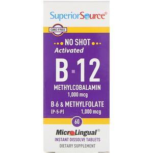Супер Сорс, Activated B-12 Methylcobalamin, B-6 (P-5-P) & Methylfolate, 1,000 mcg/1,000 mcg, 60 Tablets отзывы