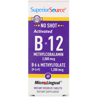 Superior Source, Activated B-12 Methylcobalamin, B-6 (P-5-P) & Methylfolate, 2,000 mcg/1,200 mcg, 60 Tablets