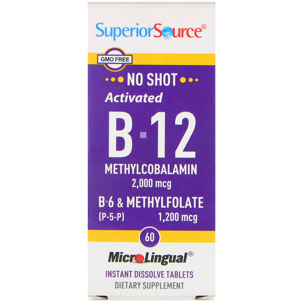 Activated B-12 Methylcobalamin, B-6 (P-5-P) & Methylfolate, 2,000 mcg/1,200 mcg, 60 Tablets